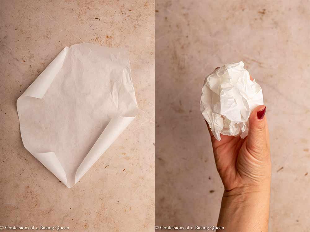 parchment paper piece crunched up