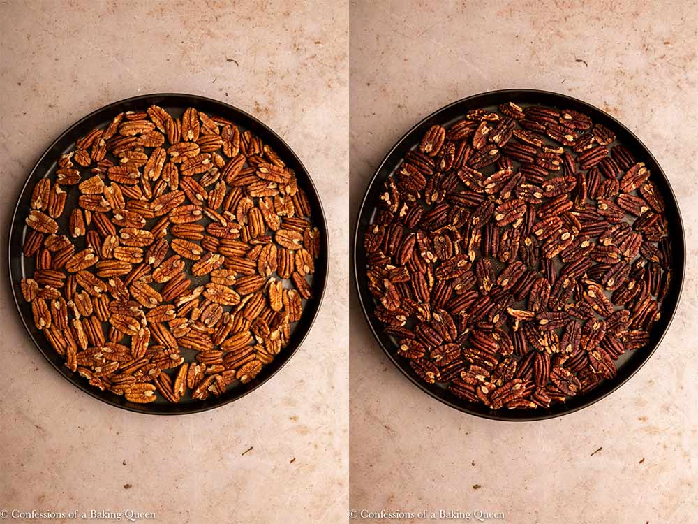 pecans before and after toasting in a metal pan on a light brown surface