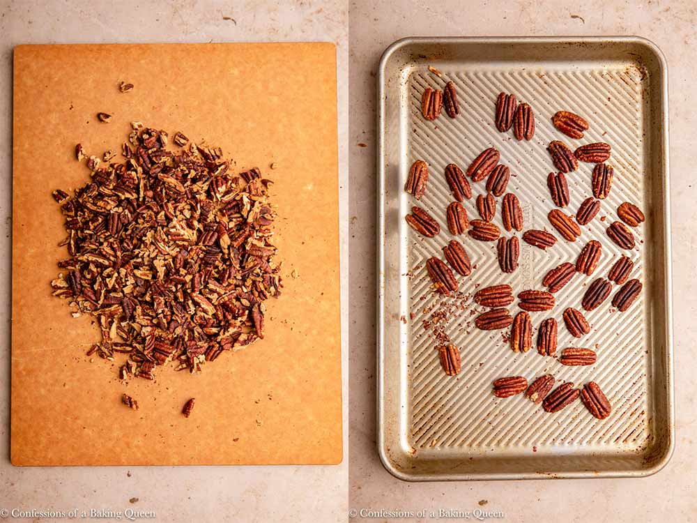 pecans for peacn pie on a cutting board and sheet tray on a light brown surface