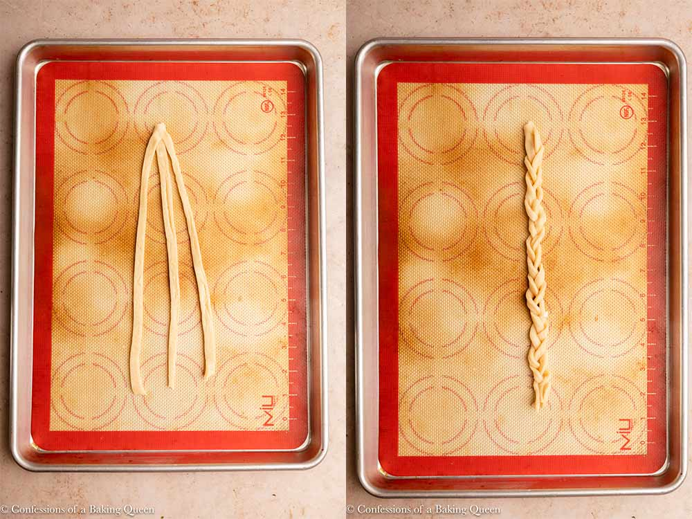 three pieces of pie dough braided together on a silpat lined baking sheet