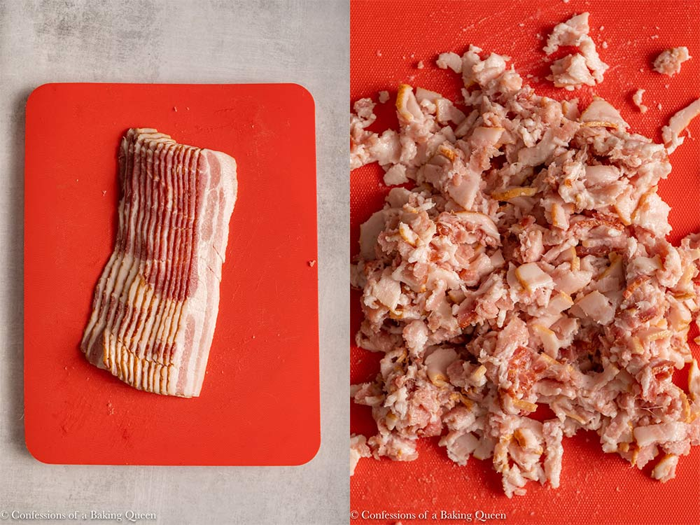 bacon chopped into small pieces on a red cutting board on a light grey surface