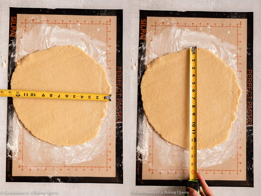 hot water crust pastry rolled out on a floured work surface measured out