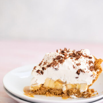 slice of banoffee pie on a white plate