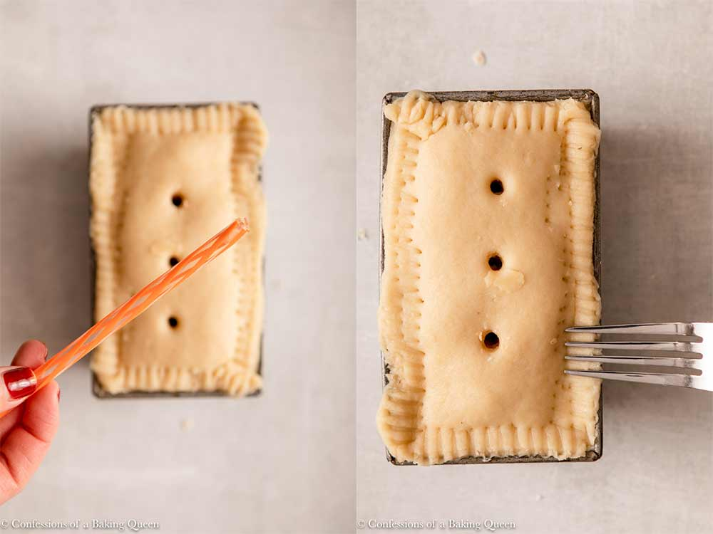 straw used to poke holes in pork pie and a fork used to crump the edges of a loaf pork pie before baking sitting on a light grey surface