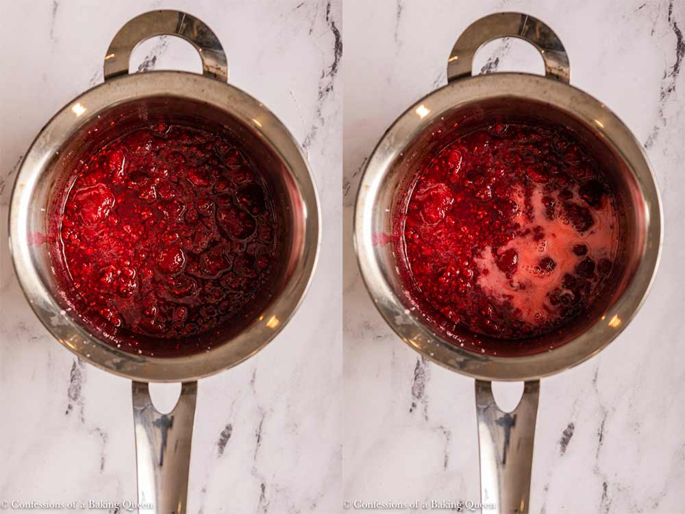 lemon cornstarch slurry added to raspberry sugar mixture in a small pot on a marble surface