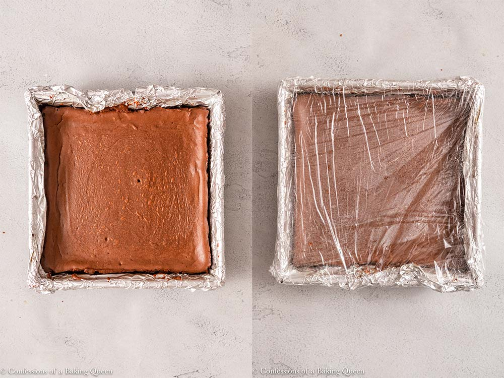 chocolate cheesecake bars chilled and wrapped in plastic wrap on a light grey surface