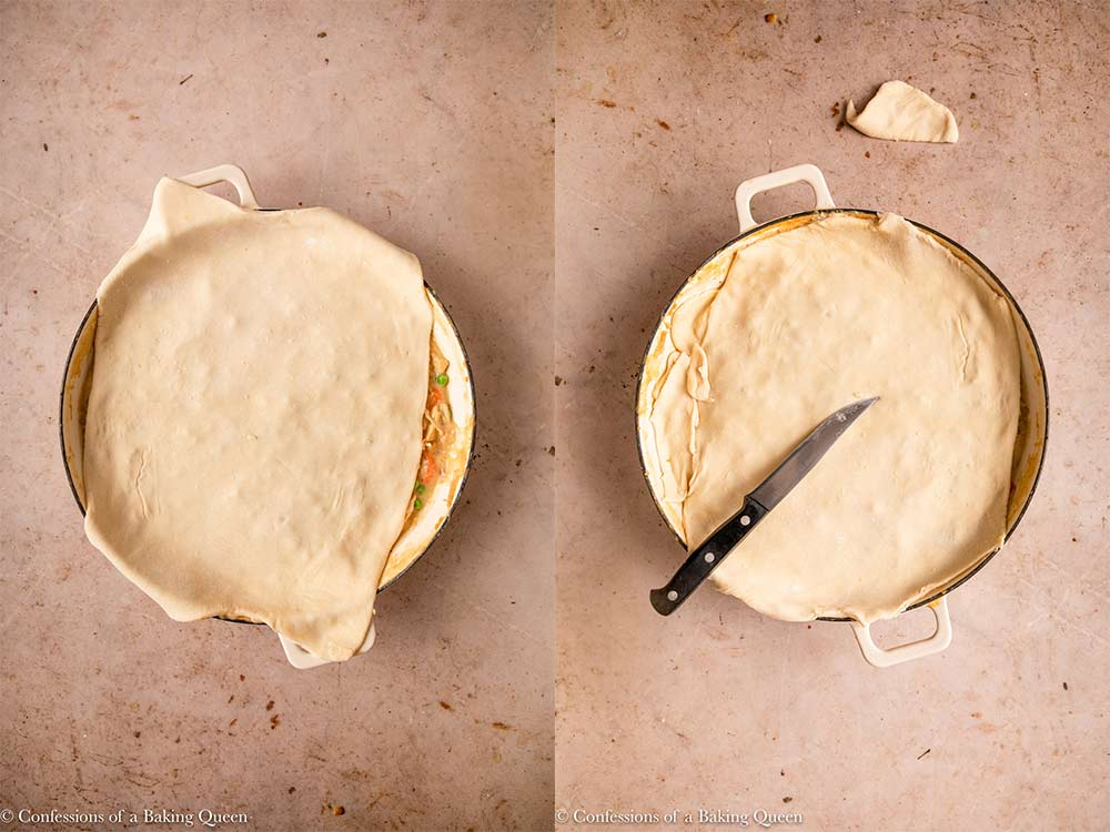 puff pastry put on top of chicken pie skillet on a light brown surface