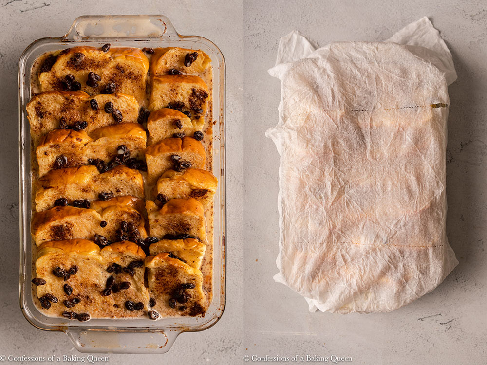 bread pudding with a wet paper towel on top on a light grey background