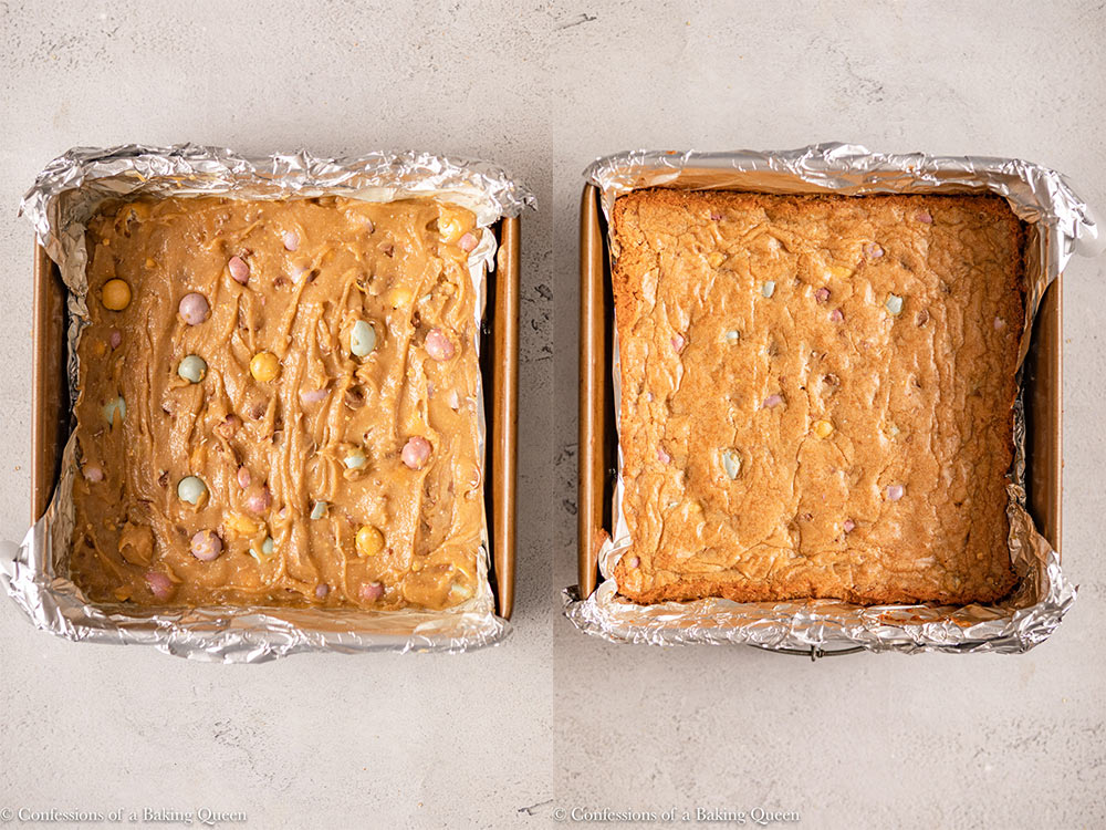 mini egg blondies before and after baking in a foil lined square pan on a light grey surface
