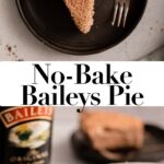 no bake baileys pie slice on a black plate with the whole pie as well
