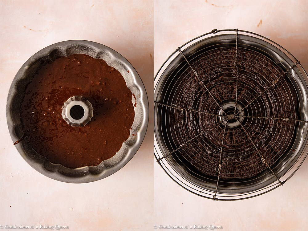 chocolate bundt cake before and after baking in a bundt pan on a light pink surface