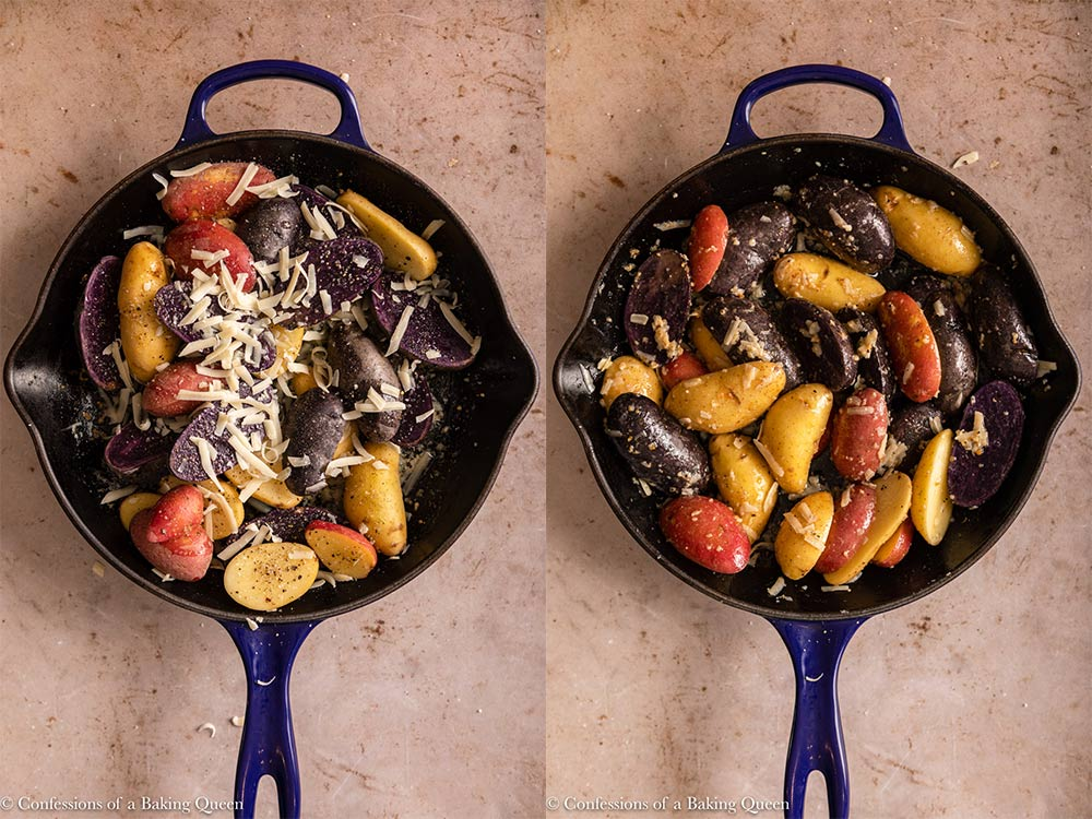 fingerling potatoes tossed with oil, butter, spices and parmsean cheese in a black cast iron skillet on a light brown surface