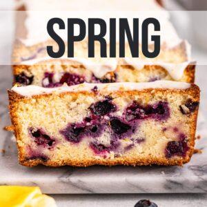 slices of lemon blueberry loaf cake