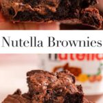 up close of hand holding a nutella brownie on a light pink surface
