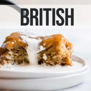 sticky toffee pudding with the word British above it
