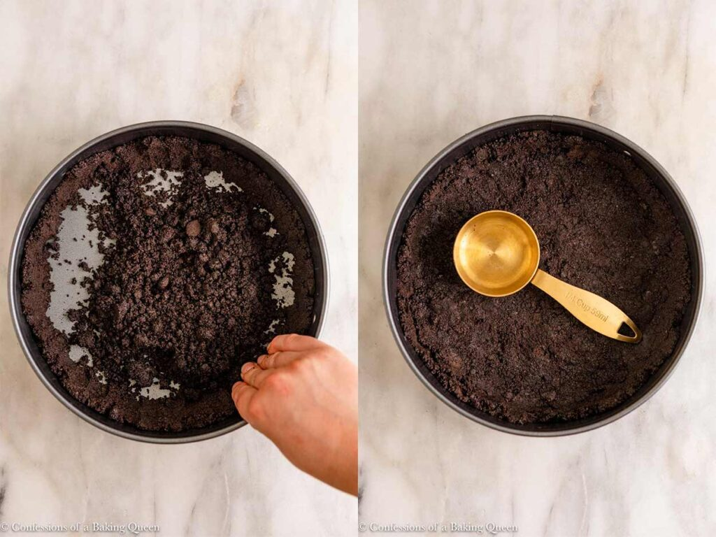 oreo crust pressed into a springform pan on a marble surface