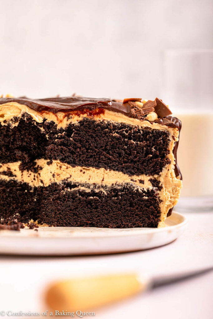 Chocolate Peanut Butter Cake cut open on a white plate on a light surface with a glass of milk and knife