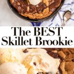 skillet brookie with three scoops of ice cream on top on a white marble surface with a white and blue linen and three spoons