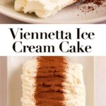 slice of viennetta ice cream cake on a white plate