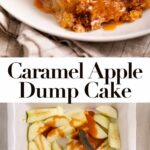 caramel apple dump cake served wtih vanilla ice cream on a white plate on top of a grey and blue linen on a marble surface