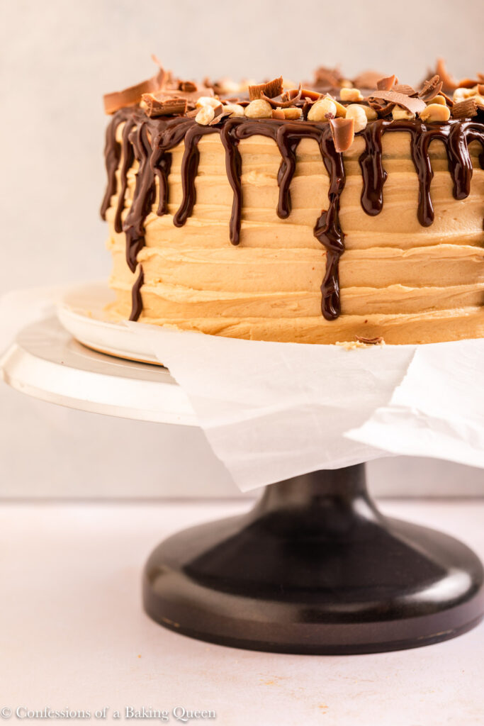 chocolate peanut butter cake decorated on a cake turntable on a light cream surface