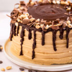 close up of Chocolate Peanut Butter Cake on a white plate on a light cream surface with peanuts and chocolate chips
