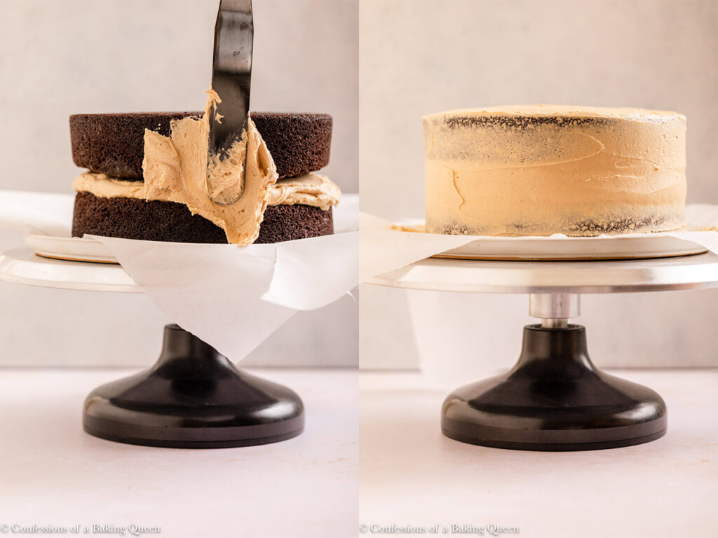 crumb croat frosting spread on to chocolate cake layers on a cake turntable on a light cream surface