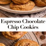 espresso chocolate chip cookies on a plate and a wire rack
