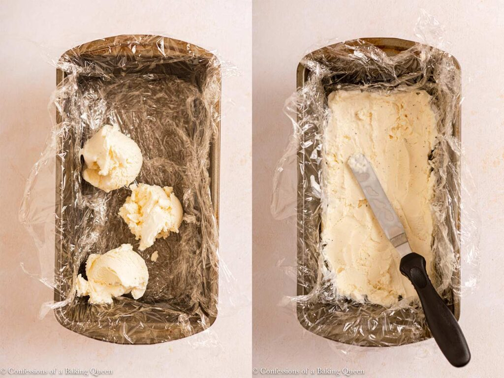 ice cream spread into a thin layer in a plastic wrapped loaf pan on a light cream surface