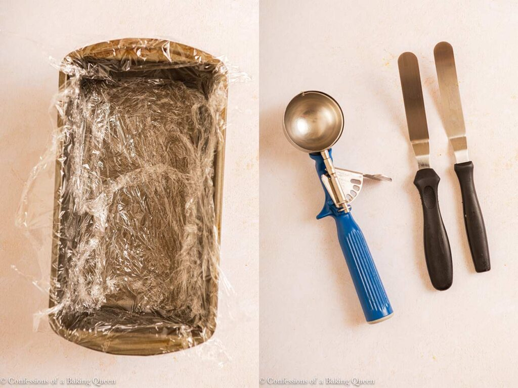 plastic wrapped loaf pan and tools to make ice cream cake on a light cream surface