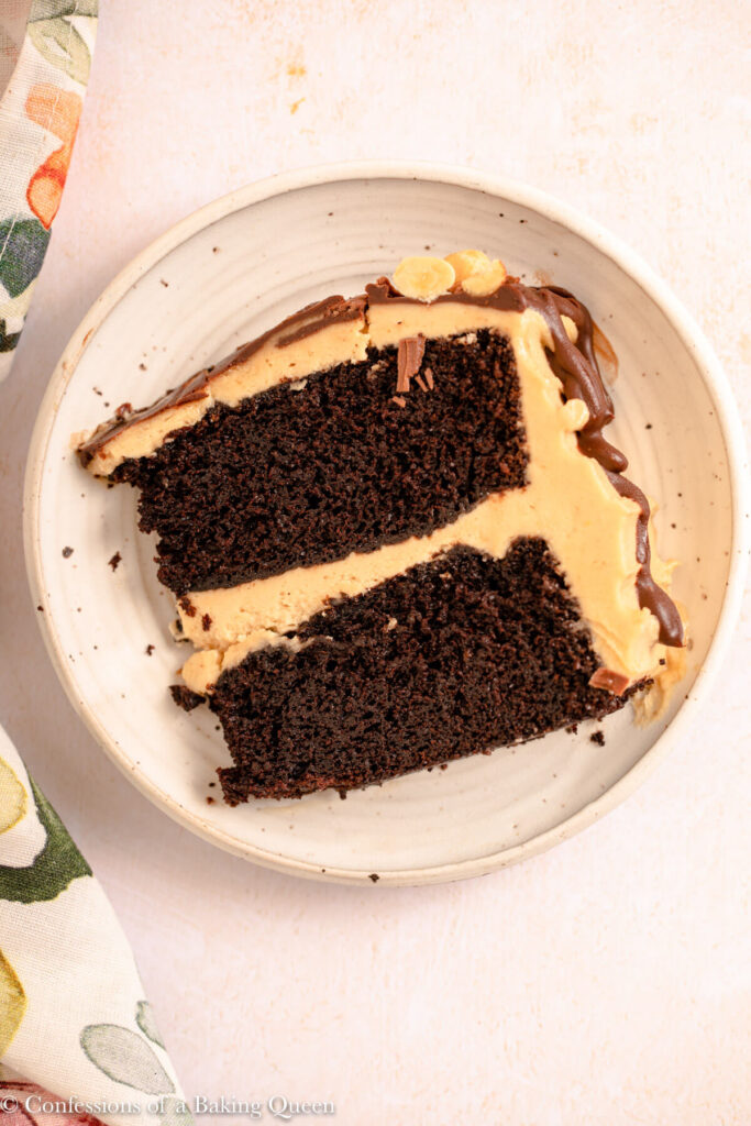 slice of Chocolate Peanut Butter Cake on a speckled plate slice of Chocolate Peanut Butter Cake on a speckled plate on a light surface with a floral linen